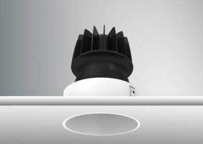 Tenus Round Trimless Fixed White Black